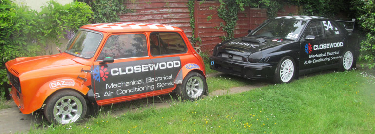 Classic-Mini-and-Subaru-Impreza-Rallycross-Closewood-Cars